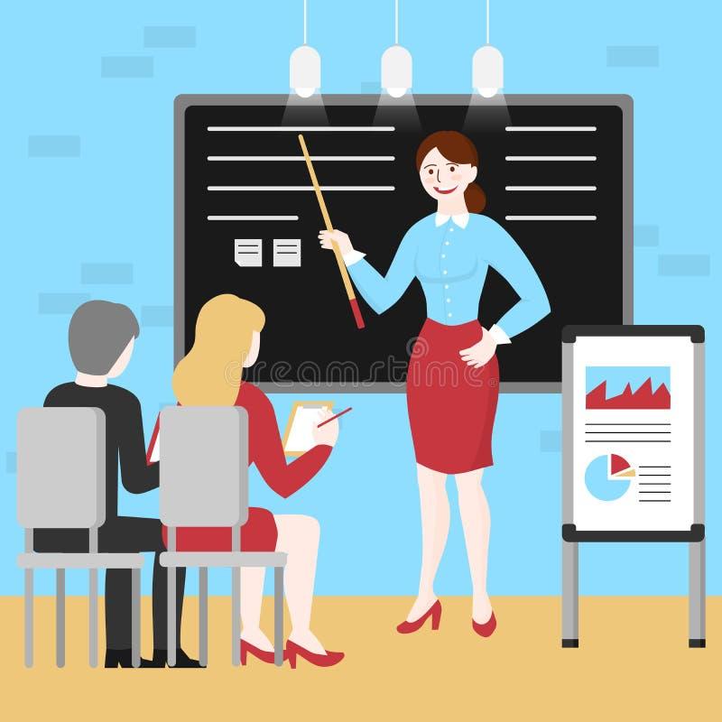 指示雇员的平的经理妇女 向量例证