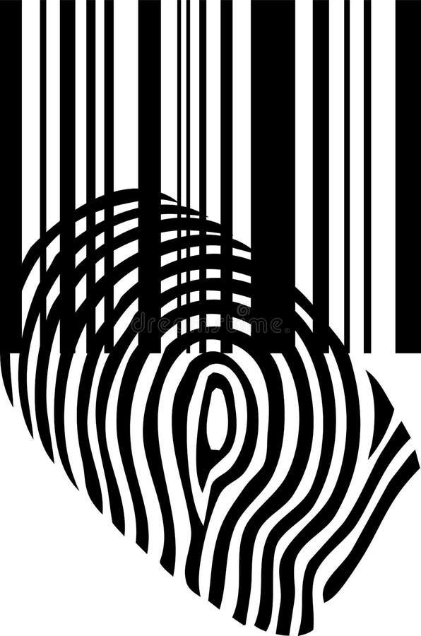指纹、条形码和条形码,标志,贴纸标签,象 库存例证