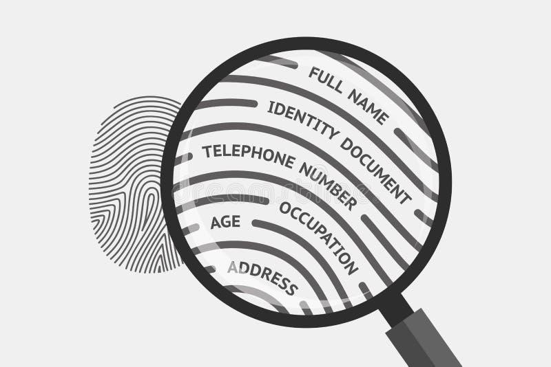 指纹和个人信息 库存例证