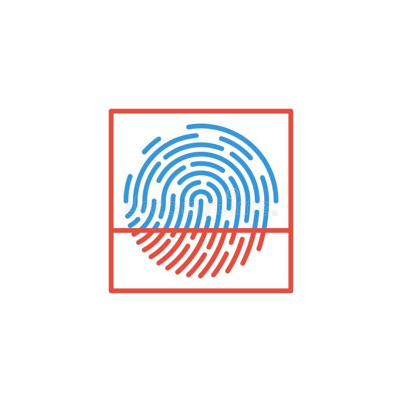 指纹在白色背景隔绝的扫描象 r 库存例证