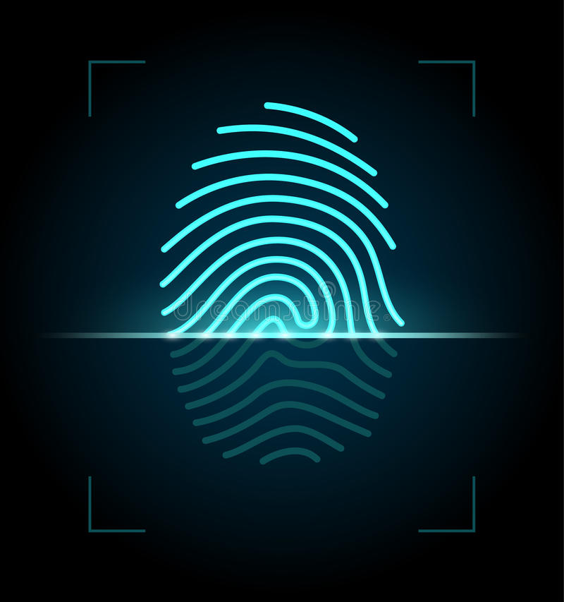 指纹扫描器例证 库存例证