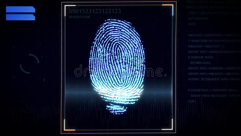 指纹扫描器,鉴定系统 皇族释放例证