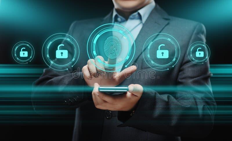 指纹扫描提供安全通入以生物测定学证明 企业技术安全互联网概念 免版税库存图片