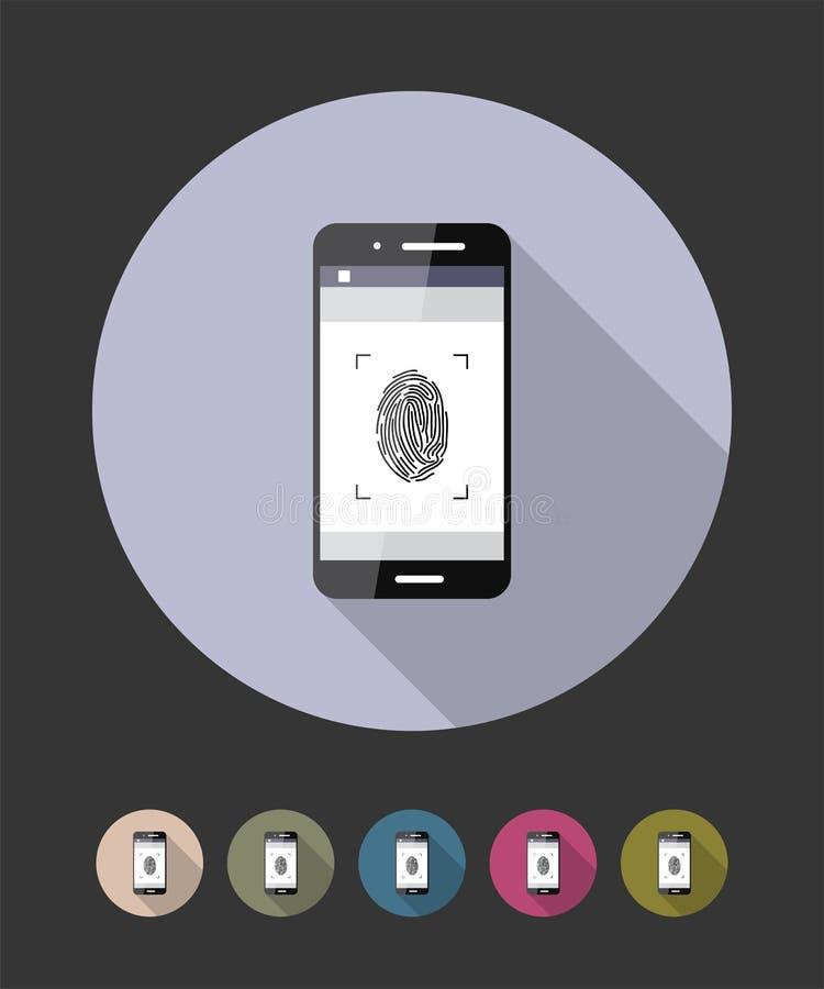指纹扫描电话 传染媒介平的样式例证 皇族释放例证