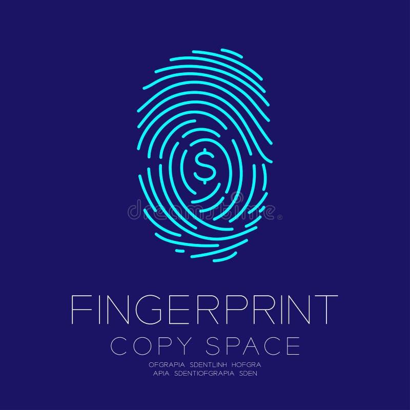 指纹扫描设置了与货币USD美国美元 皇族释放例证