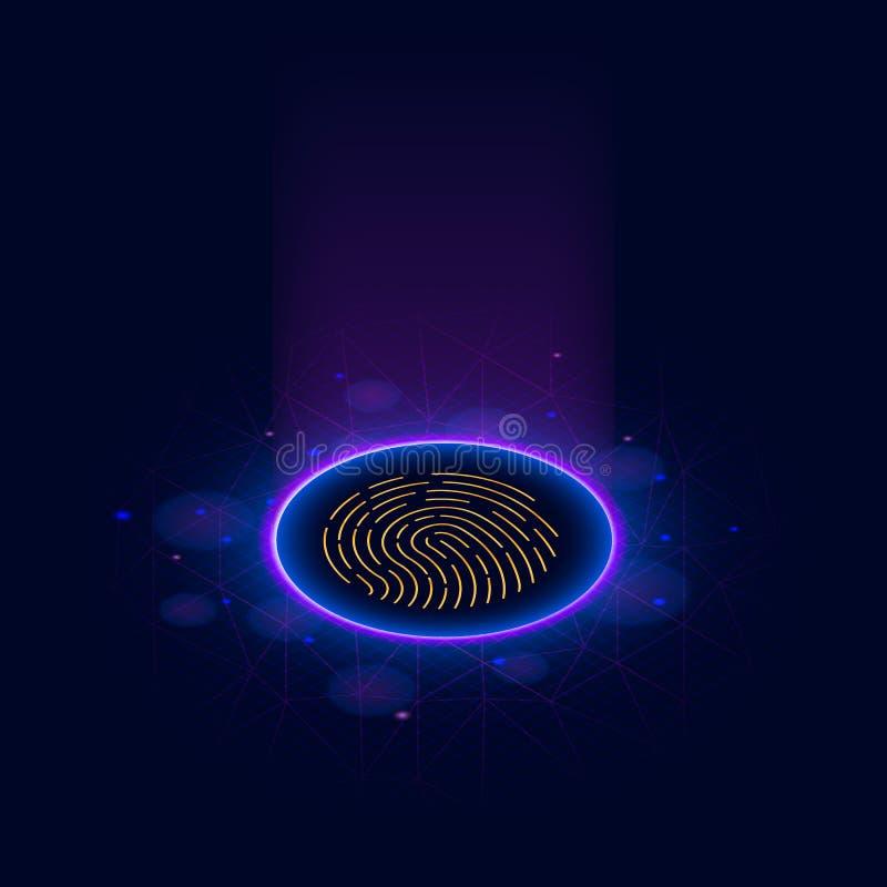 指纹扫描鉴定系统 库存例证