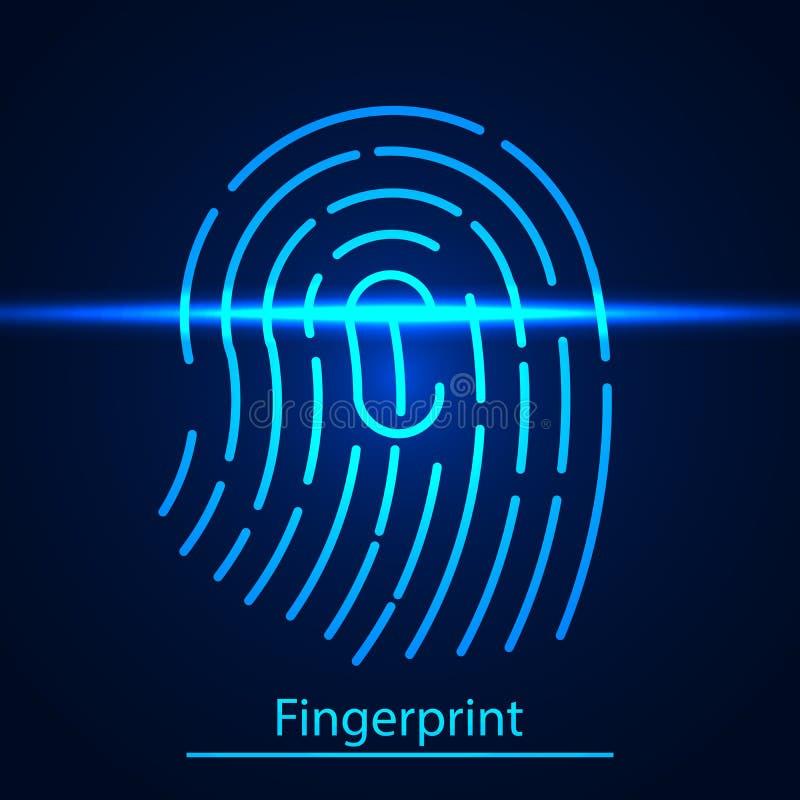 指纹技术扫描鉴定系统 在蓝色扫描的激光屏幕上的指纹 向量例证