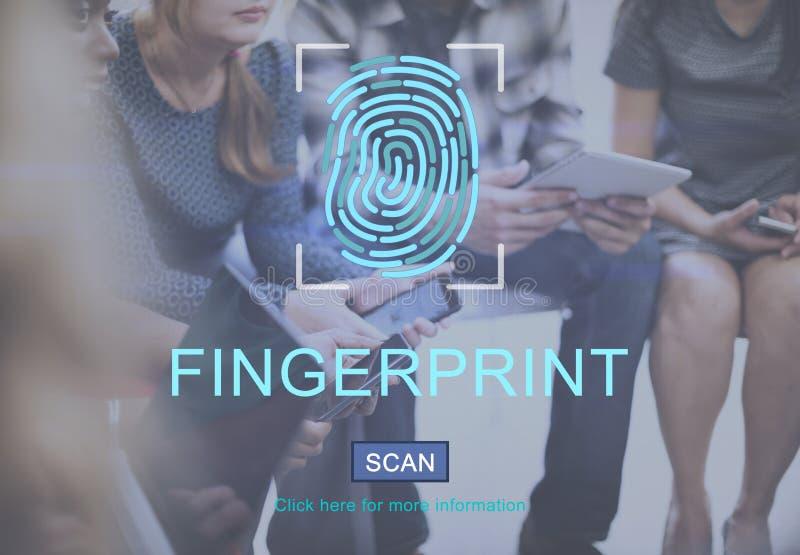 指纹技术未来派编制程序数字式概念 免版税库存图片