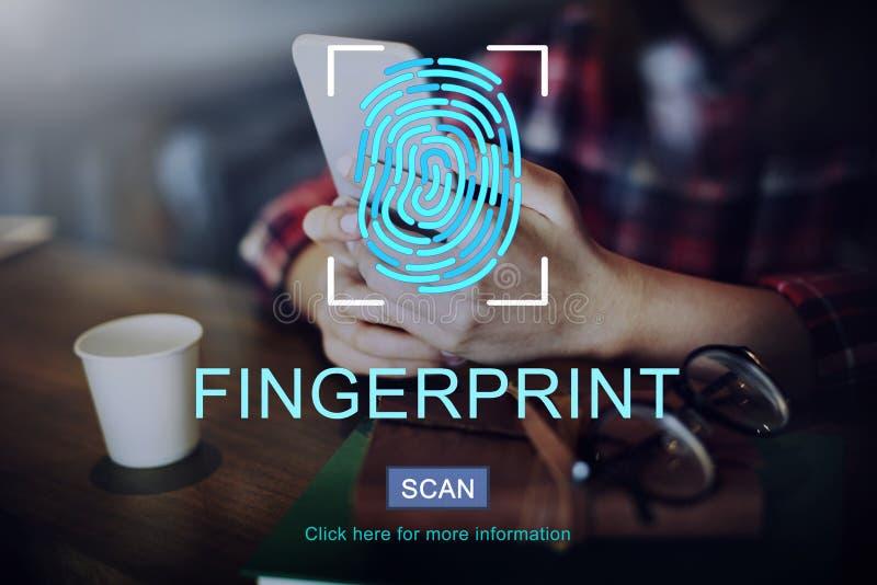 指纹技术未来派编制程序数字式概念 库存照片