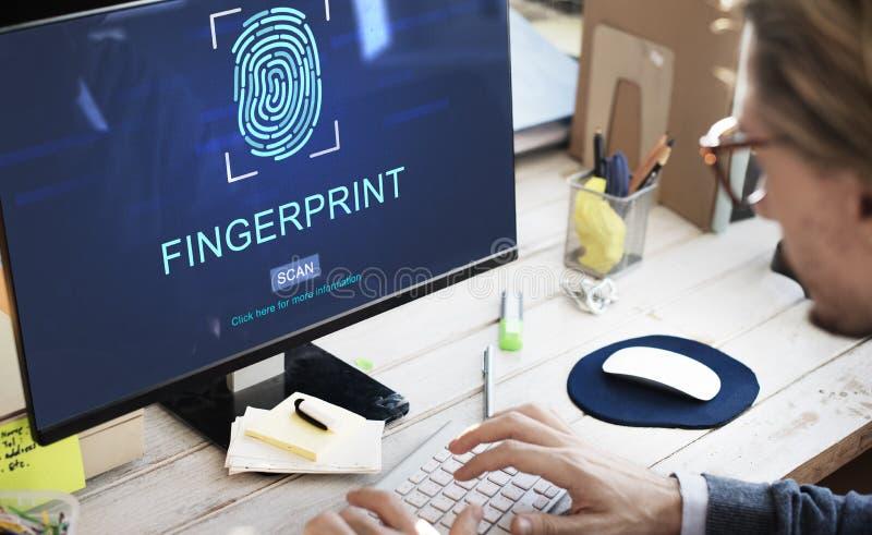 指纹技术未来派编制程序数字式概念 免版税图库摄影