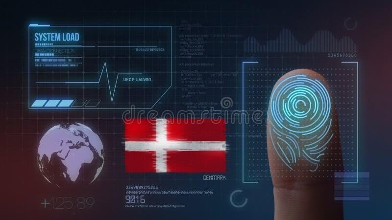 指纹生物统计的扫描的鉴定系统 丹麦国籍 库存例证