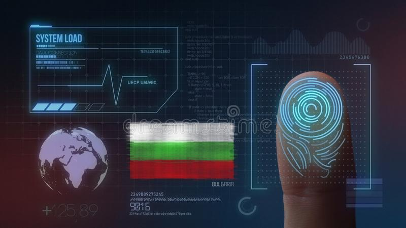 指纹生物统计的扫描的鉴定系统 保加利亚国籍 库存图片