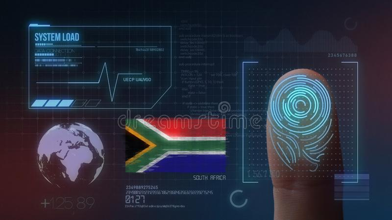 指纹生物统计的扫描的鉴定系统 南非国籍 免版税库存照片