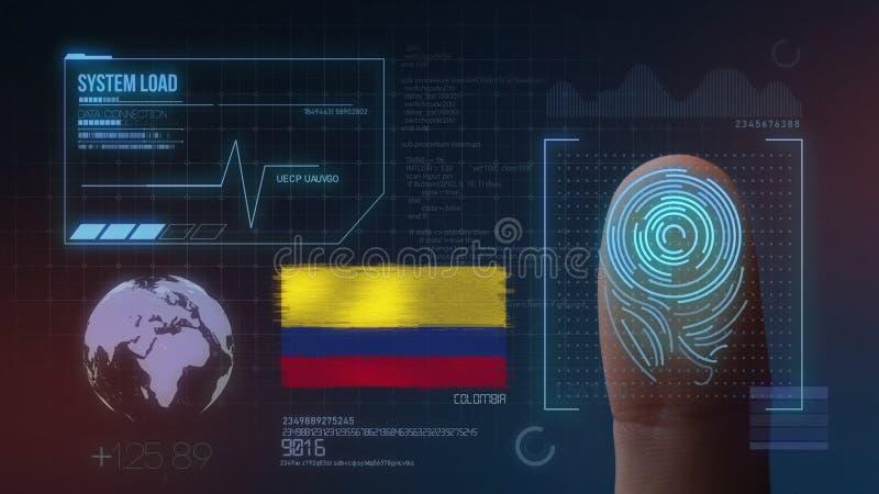 指纹生物统计的扫描的鉴定系统 哥伦比亚国籍 库存例证
