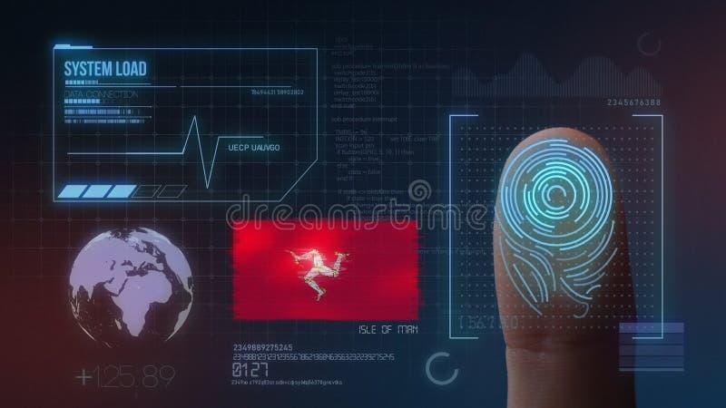 指纹生物统计的扫描的鉴定系统 曼岛国籍 向量例证