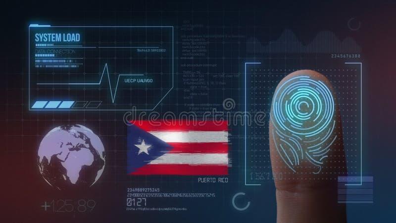 指纹生物统计的扫描的鉴定系统 波多黎各国籍 库存图片