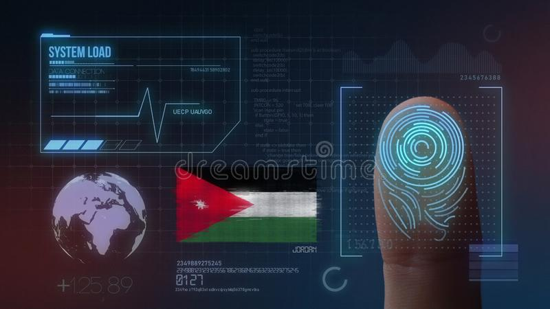 指纹生物统计的扫描的鉴定系统 约旦国籍 向量例证
