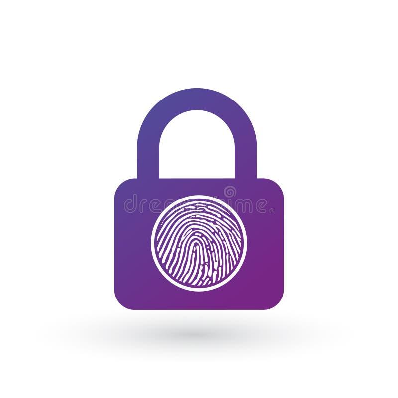 指纹的例证在挂锁象的 在空白背景查出的向量例证 向量例证