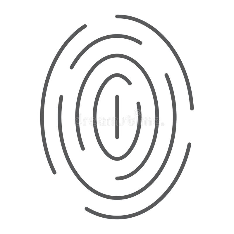 指纹稀薄的线象,扫描和thumbprint,id标志,向量图形,在白色背景的一个线性样式 皇族释放例证