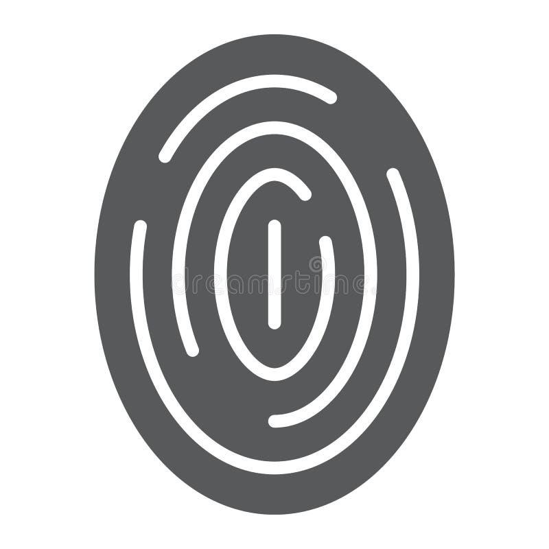指纹纵的沟纹象、扫描和thumbprint,id标志,向量图形,在白色背景的一个坚实样式 皇族释放例证