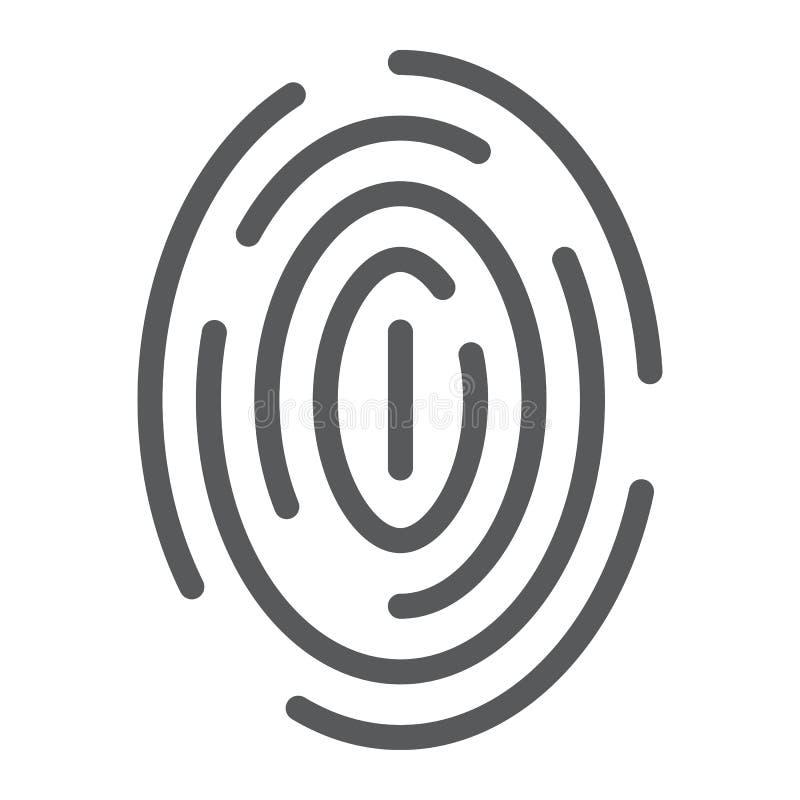 指纹线象,扫描和thumbprint,id标志,向量图形,在白色背景的一个线性样式 向量例证