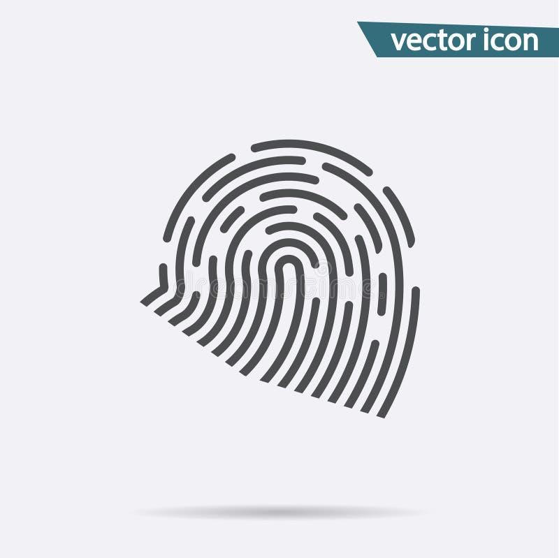 指纹象传染媒介 在白色背景隔绝的平的identiti标志 时髦互联网概念 库存例证