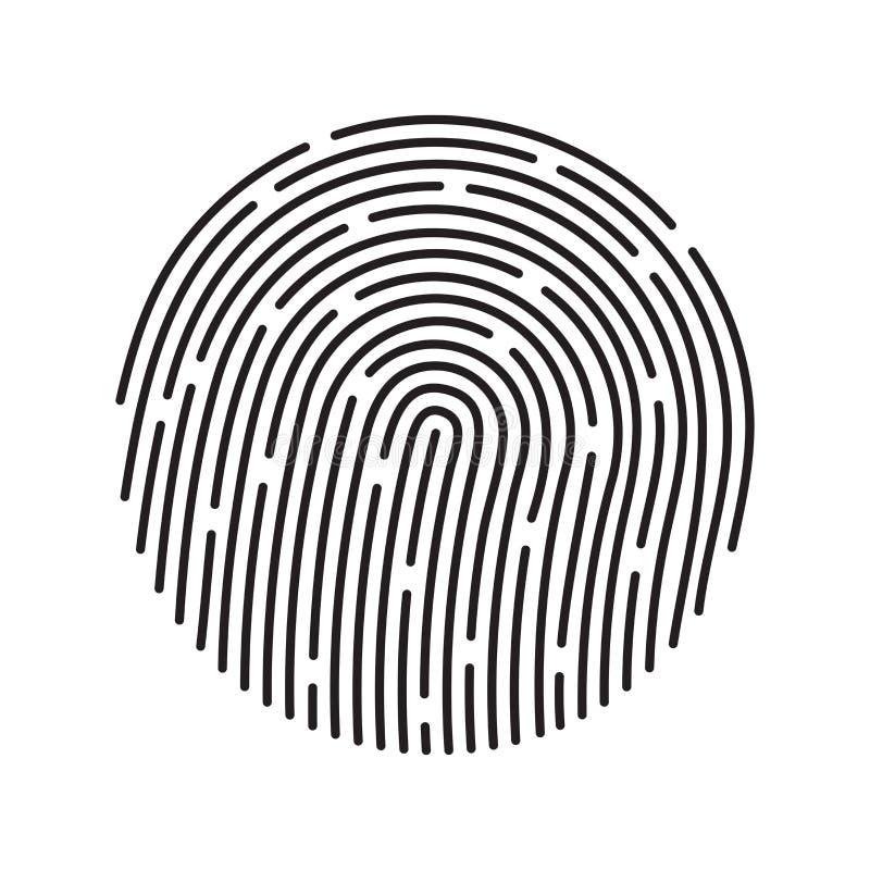 指纹鉴定系统,黑标志 库存例证