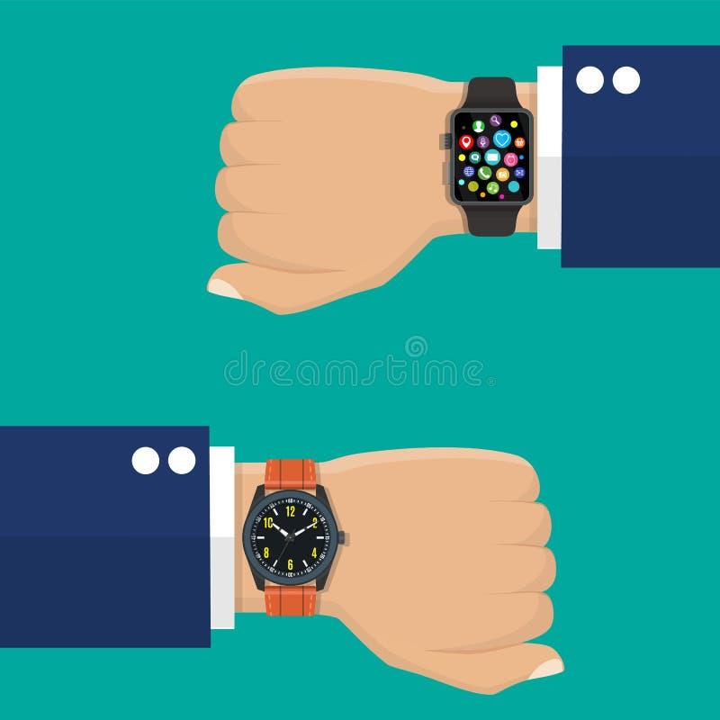 指针式电子表和巧妙的手表在商人s手上 皇族释放例证
