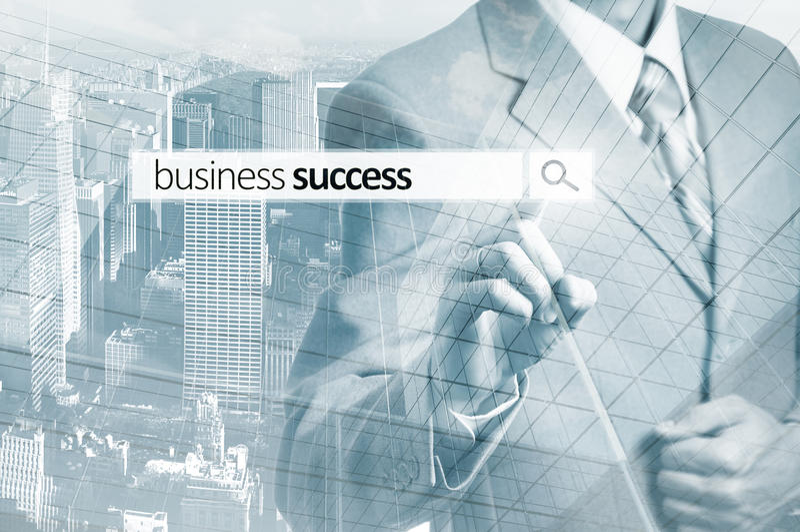 按企业队查寻按钮的商人 企业概念查出的成功白色 免版税图库摄影