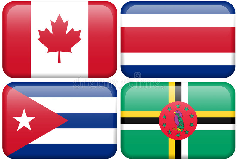 按加拿大肋前缘古巴多明尼加na rica 向量例证