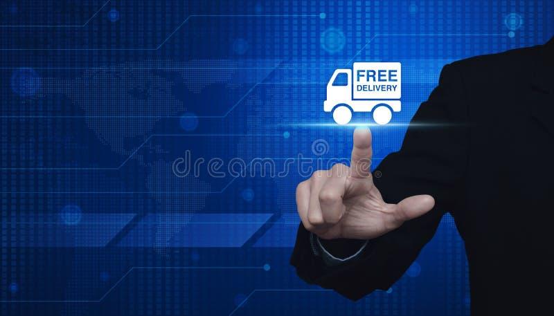 按在数字式世界的商人自由送货卡车象 库存例证