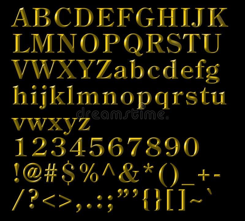 按字母的古铜在编号符号上写字 库存例证