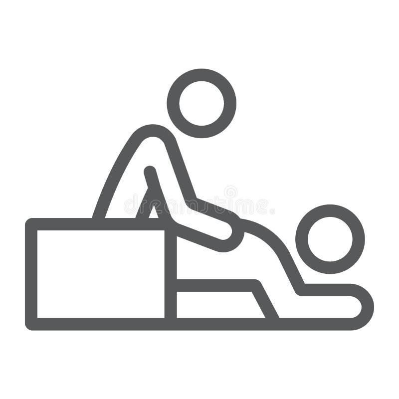 按摩线象,温泉和休闲,治疗师标志,向量图形,在白色背景的一个线性样式 皇族释放例证