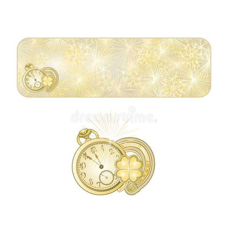按有手表和幸运的标志传染媒介的新年烟花 皇族释放例证