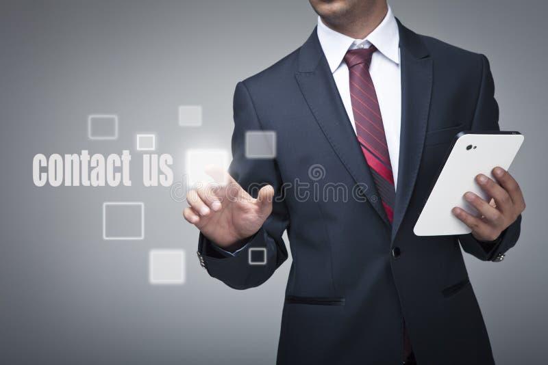 按现代按钮的高科技类型商人 免版税库存图片