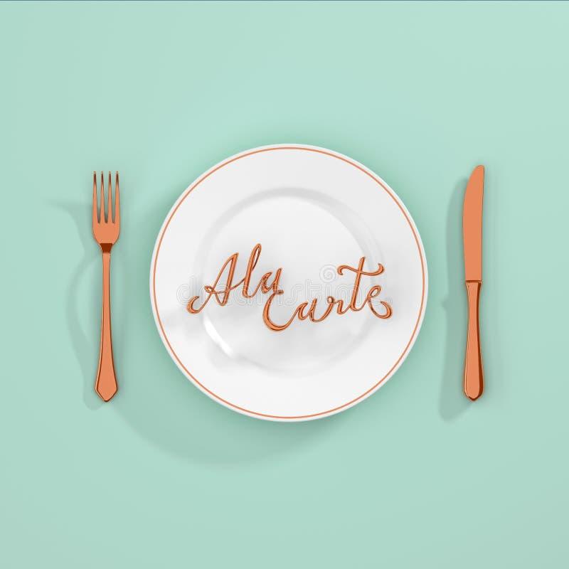 按菜谱点菜与叉子的行情印刷回报3D例证的背景和刀子3D 向量例证