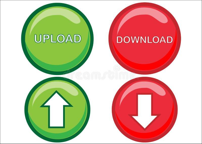 按钮下载加载万维网 向量例证