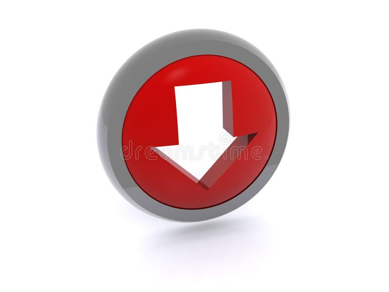 按钮下载红色 库存例证