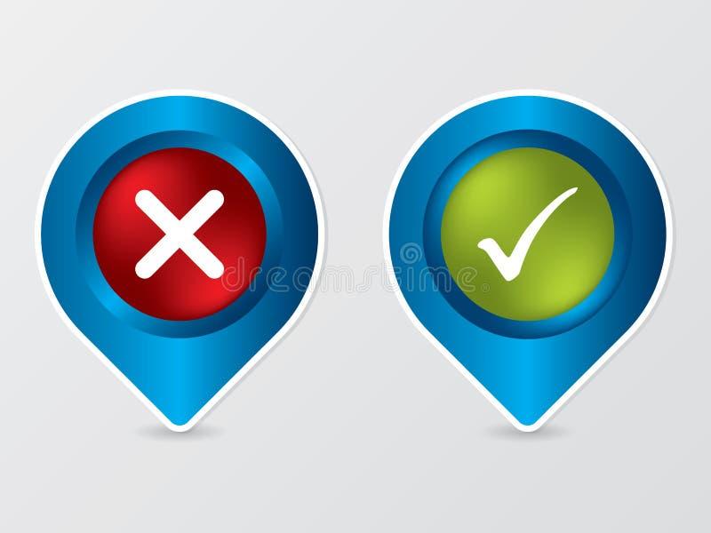 按钮交叉标记形状的滴答声 向量例证