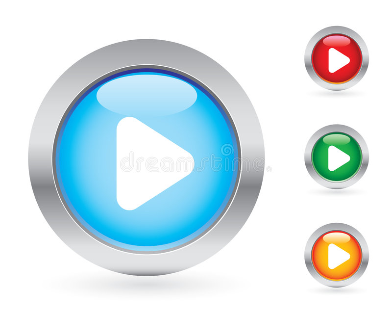 按钮光滑的作用集 库存例证
