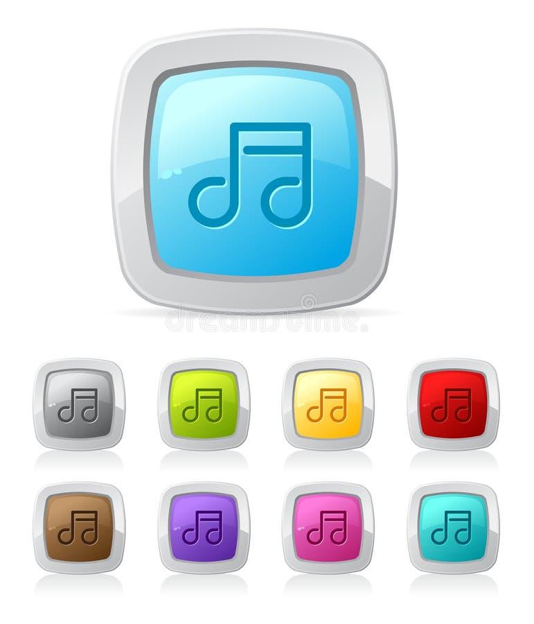 按钮光滑的音乐 库存例证
