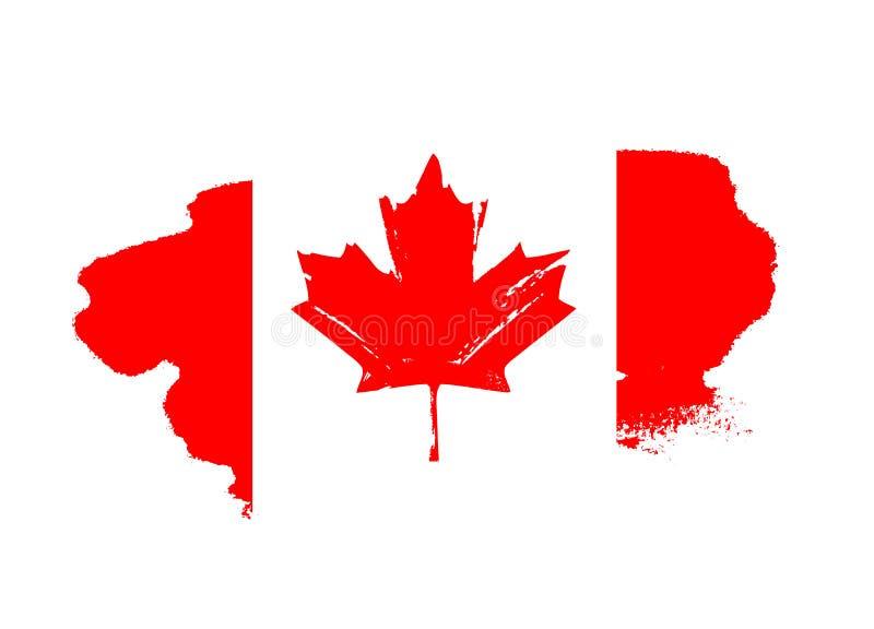 按钮加拿大日图标设置了 红旗 向量例证