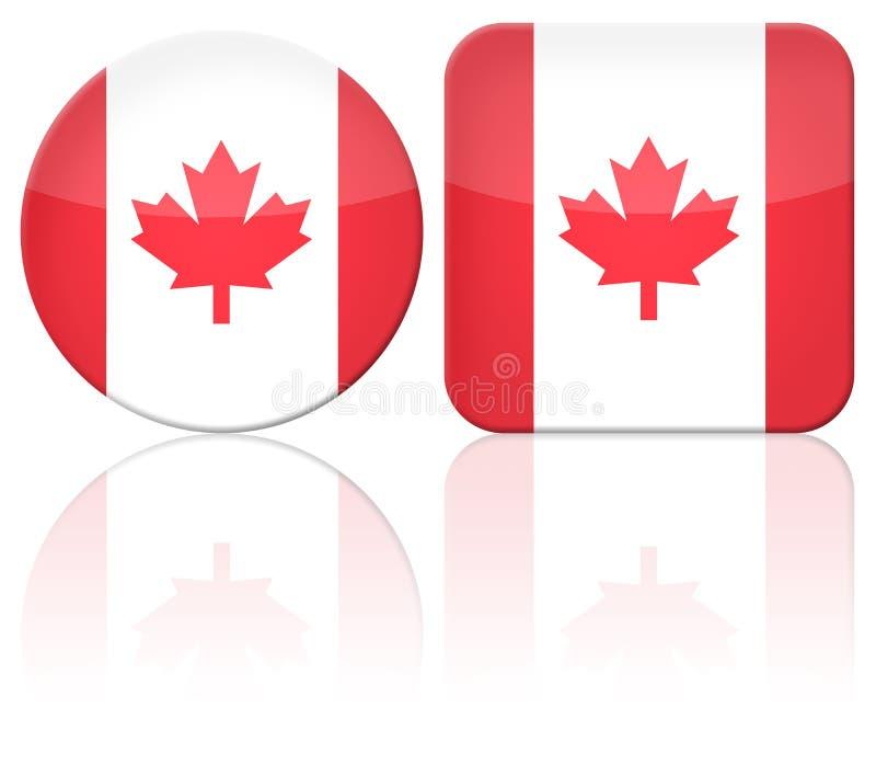 按钮加拿大标志 向量例证