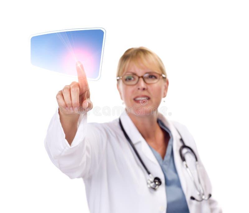 按钮医生女性屏幕接触涉及 免版税图库摄影