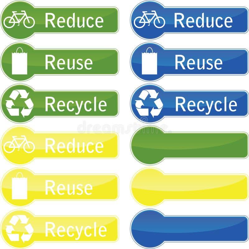 按钮回收减少重新使用 向量例证