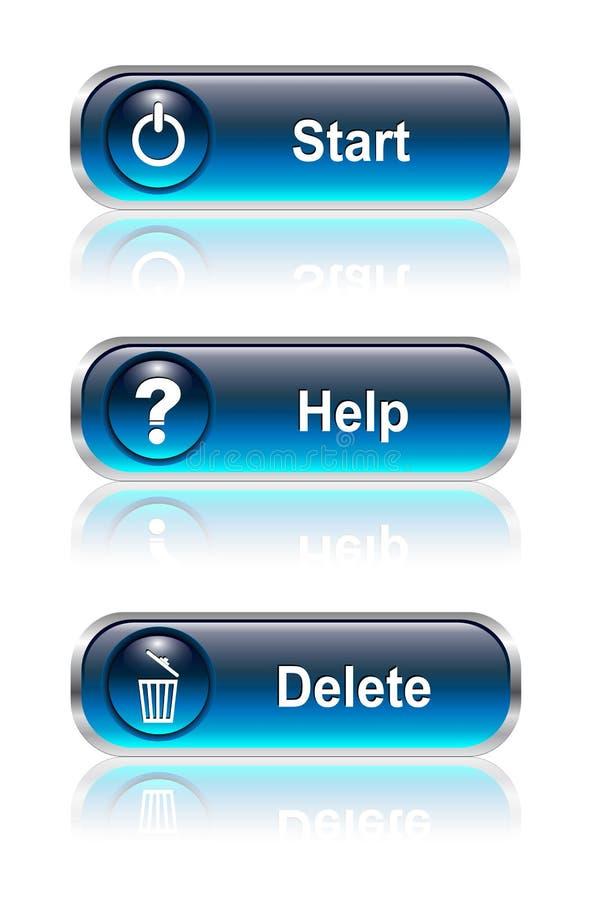 按钮图标集合万维网 皇族释放例证