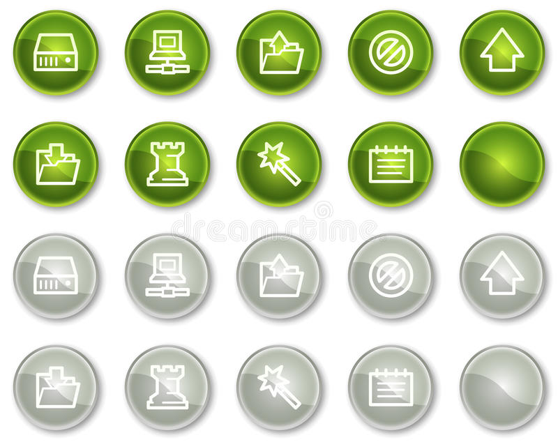 按钮圈子数据绿色灰色图标万维网 库存例证