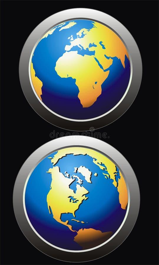 按钮地球 向量例证