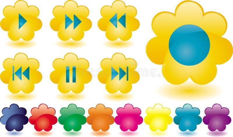 按钮开花音乐黄色 向量例证