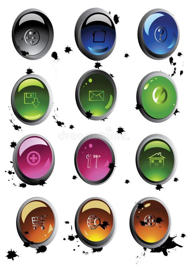 按钮彩色组向量 免版税库存照片